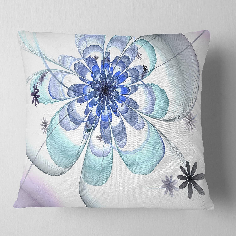 Designart Cu12004 18 18 Light Blue Large Fractal Flower Floral Cushion Cover For Living Room Sofa