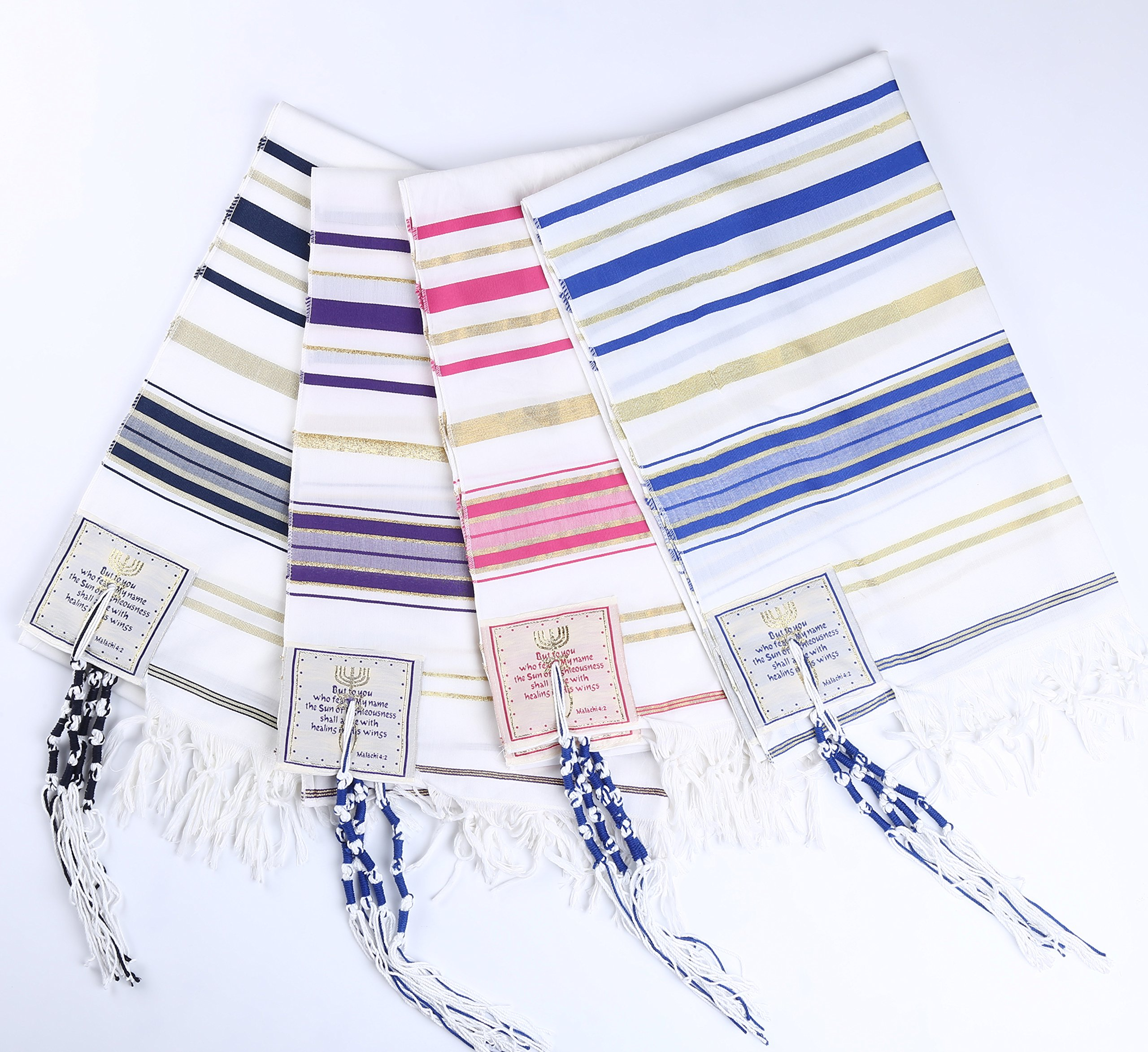 4pcs Pack Four colors packing Messianic Tallit prayer shawl 72''X22'' by Star Gifts