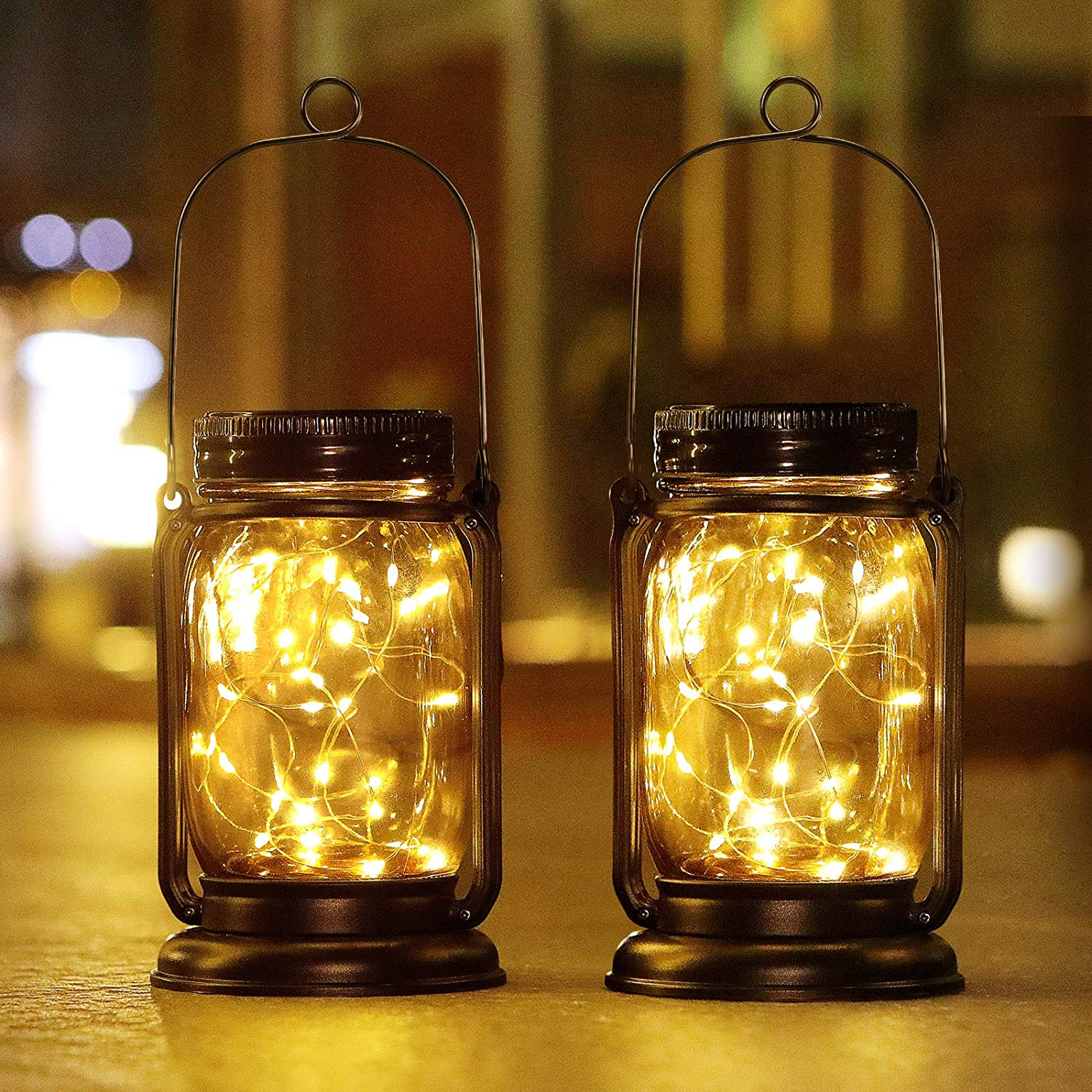 Solar Lights Outdoor Decorative, E-Kong 2 Pack Hanging Solar Garden Lantern Mason Jar Lights with 30 Led String Lights, Retro Design for Patio Yard Balcony Decor - Waterproof Jars and Lids Included