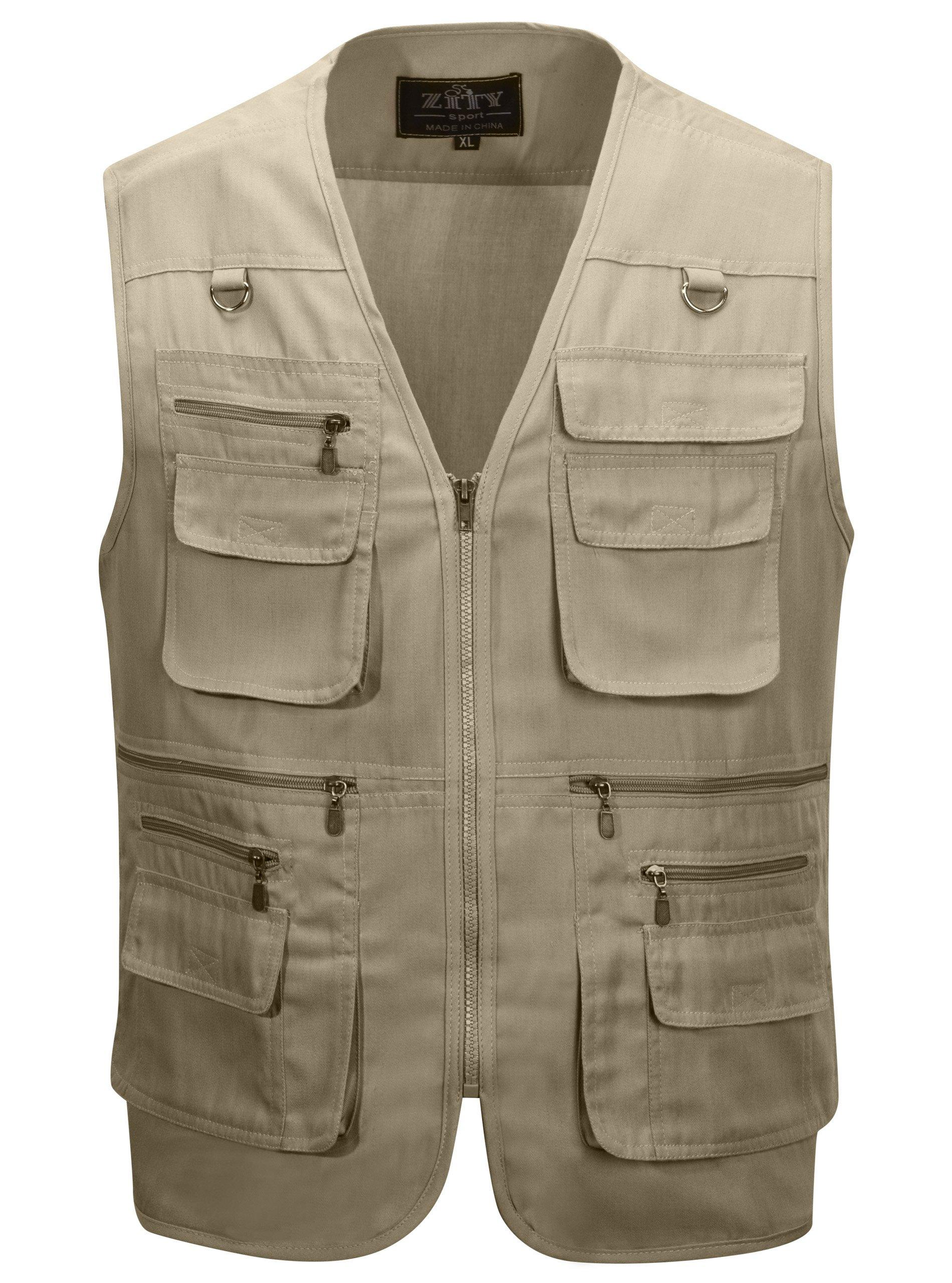 Alipolo Men's Outdoor Multifunction Multi-Pocket Pierced Fishing Vest Photo Journalist's Vest Khaki US L/Label 2XL by Alipolo