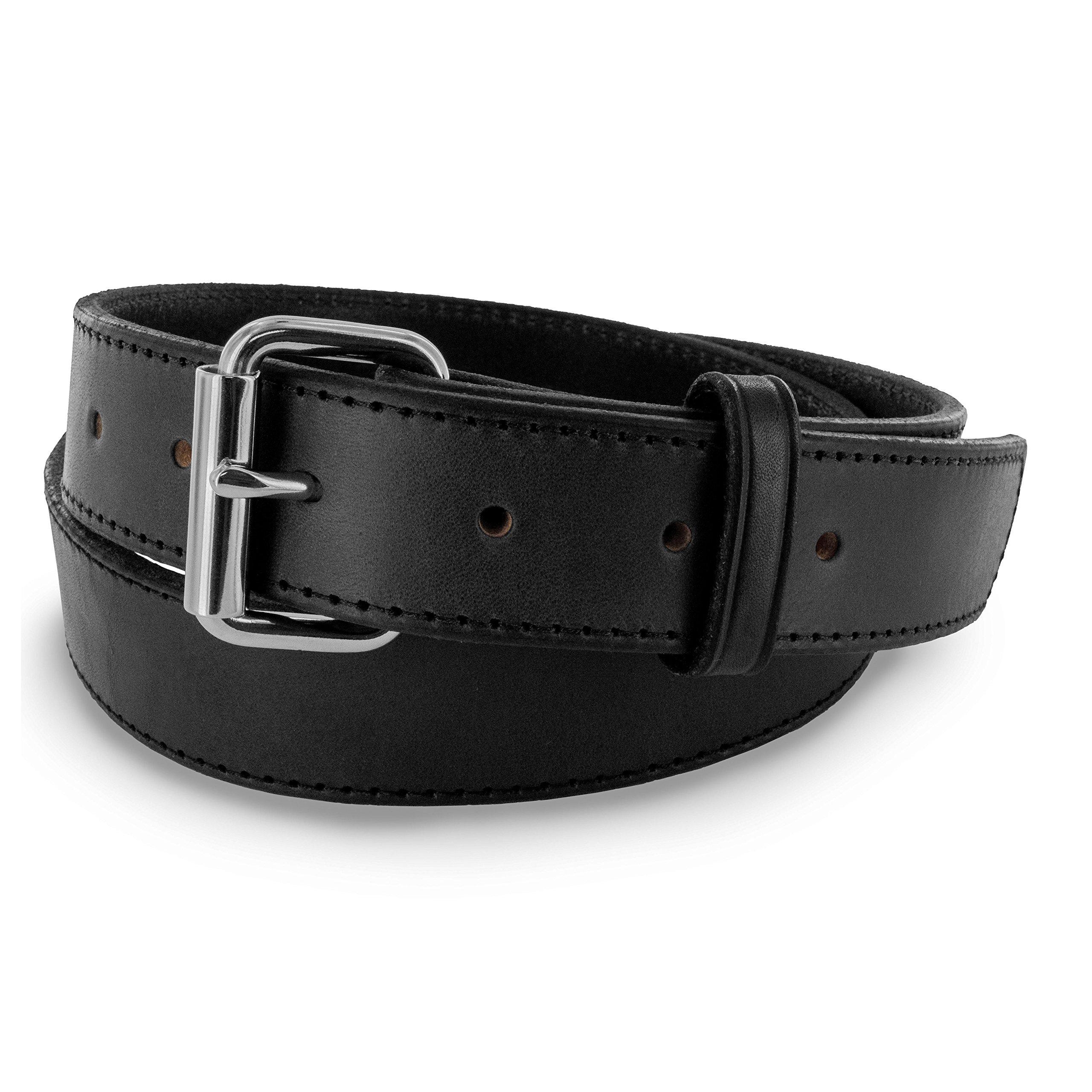 Hanks Stitch Gunner Belts - 1.5'' Best Vaue in A Concealed Carry Belt - USA Made 13OZ Leather - 100 Year Warranty - BLK - 32