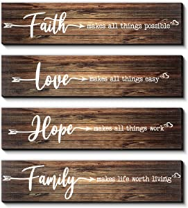 4 Pieces Rustic Wood Sign Wall Decor Faith Makes All Things Possible Quote Sign Rustic Love Hope Family Wood Sign Home Decoration for Home Office Wedding Kitchen and Living Room, 13 x 3 x 0.2 Inch