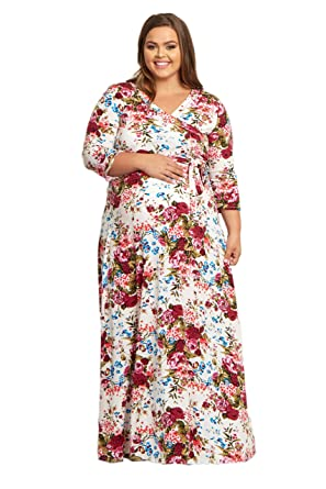 7e2efe151584 Image Unavailable. Image not available for. Color: PinkBlush Maternity  White Floral Draped 3/4 Sleeve Plus Size Maxi Dress ...