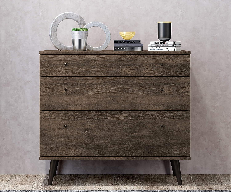 3-Drawer Dresser, Distressed Brown