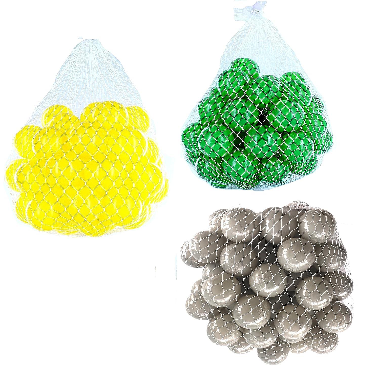150 Bälle für Bällebad gemischt mix mit grau, grün und gelb mybällebad