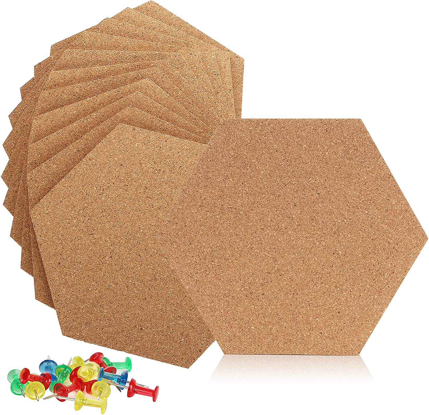 12 PCS Self-Adhesive Cork Board Tiles, 8.5 x 7.3 Inches Wall Bulletin Board, Hexagon Cork Boards for Wall, Corkboard Tiles with 50 Multi-Color Push Pins for Home Office Decor