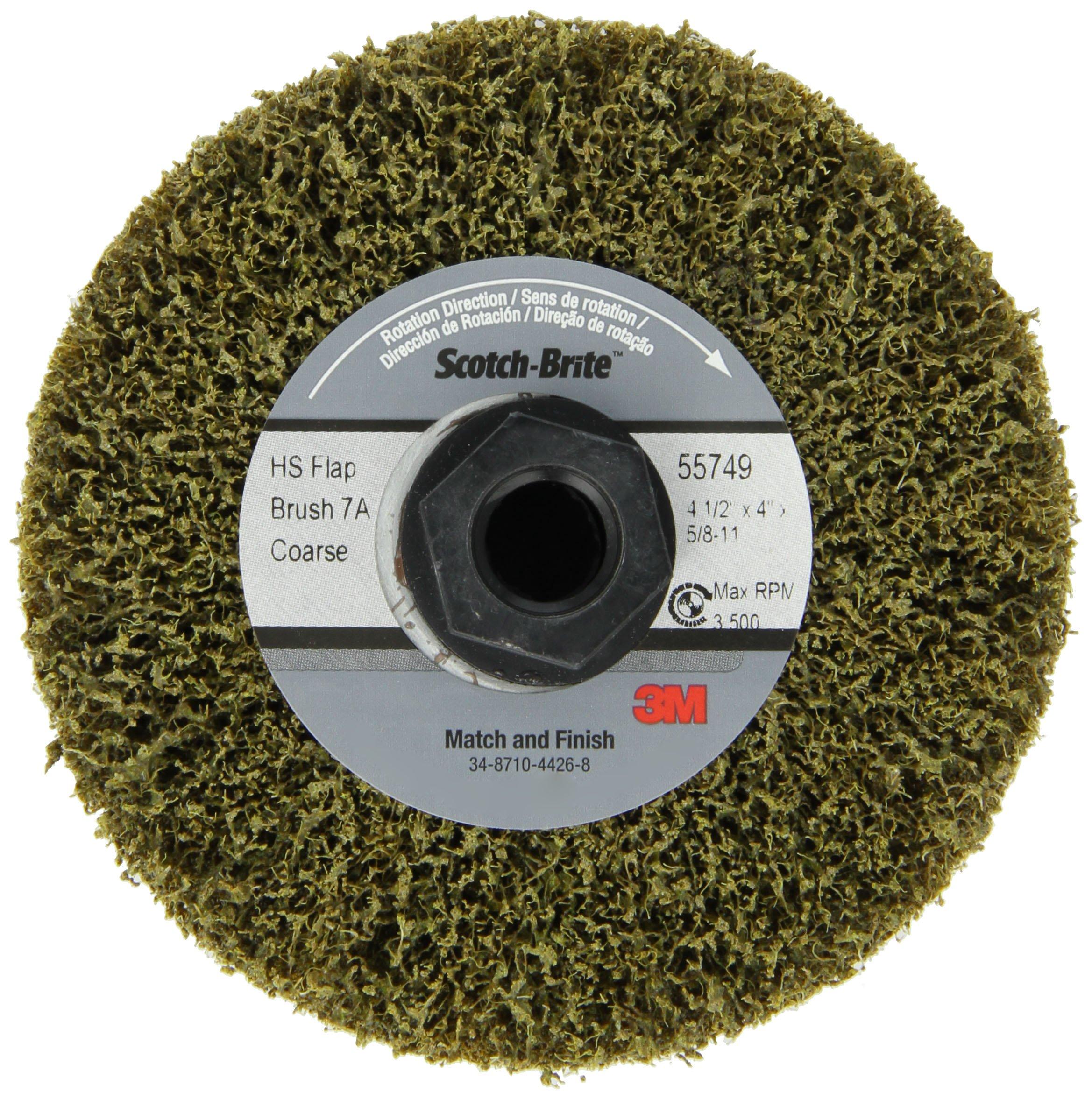 Scotch-Brite(TM) Match and Finish High Strength Flap Brush, Aluminum Oxide, 4-1/2'' Diameter x 4'' Width, 5/8''-11 Thread, Coarse Grit (Pack of 1)