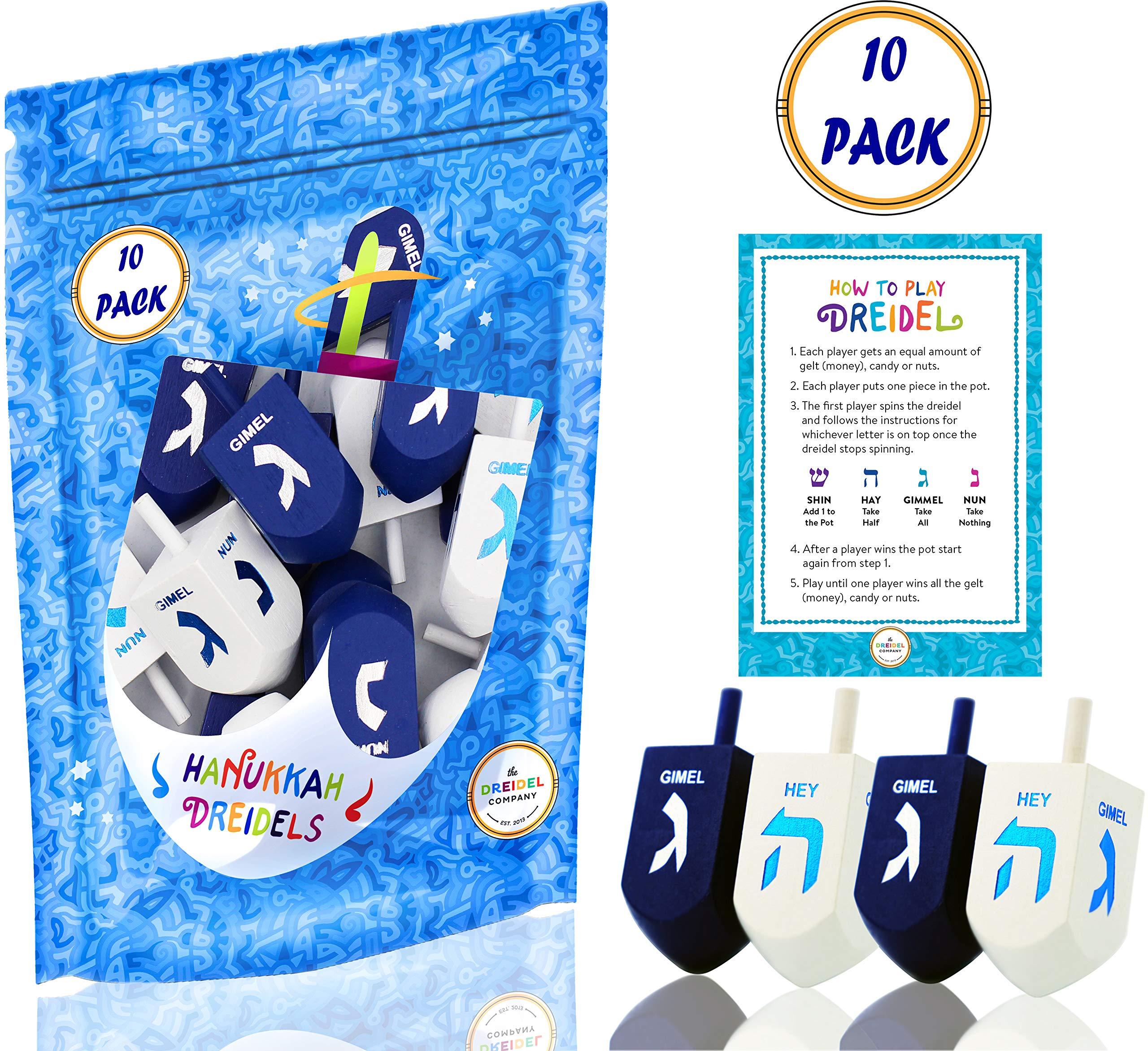 Hanukkah Dreidel Extra Large Blue & White Wooden Dreidels Hand Painted - Includes Game Instruction Cards! (10-Pack XL Dreidels) (10-Pack)