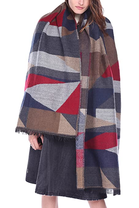 dce6af36ea887 Afibi Women's Long Color Block Blanket Shawl Fashion Winter Warm Large Scarf  (Blue) at Amazon Women's Clothing store: