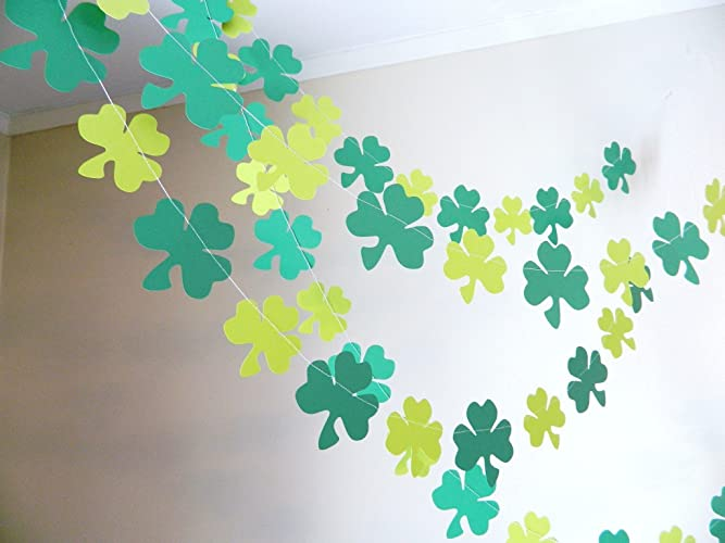 st patricks decorations 6 foot shamrock garland st patricks day decor st pattys - St Patricks Day Decorations