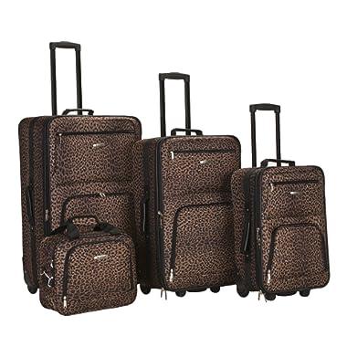 Rockland Luggage 4 Piece Luggage Set, Brown Leopard, Medium