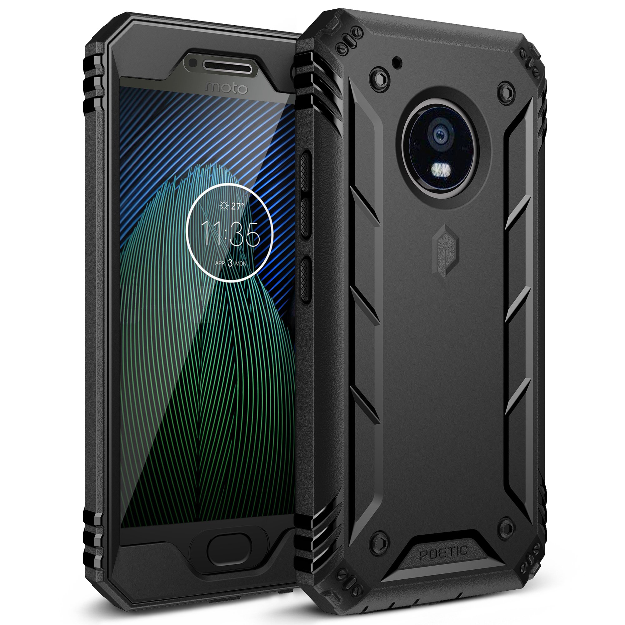 Poetic Moto G5 Plus Rugged Case, Revolution Full-Body with Hybrid Heavy Duty Protection [Built-in Screen Protector] for Motorola Moto G5 Plus (2017) Black by Poetic
