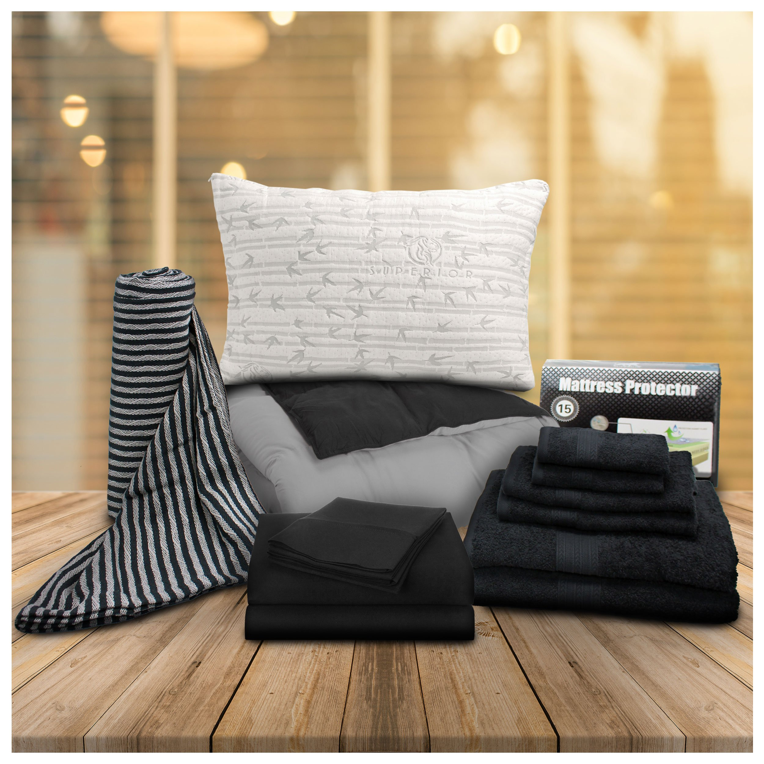 Superior 13-Piece Back to School Bedding and Bath Set, Essential College Bedding Sets for Dorm Rooms, Unisex, Twin XL, Black & White