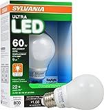 SYLVANIA ULTRA 60W LED Light Bulb Dimmable - Daylight 5000K, 25,000 hour life,  E26 A19 Medium Base - Energy Star 9W