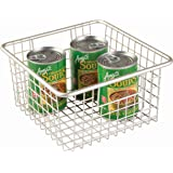 InterDesign Forma Household Wire Storage Basket with Handles For Kitchen Cabinets, Pantry, Bathroom, Medium, Satin,  10-inch x 9-inch  x 5-inch