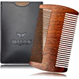 """RIJAL Beard Comb & Protective Case - 100% Sandalwood - Anti-Static Dual-Sided Coarse & Fine Tooth (4"""" Two sides)"""