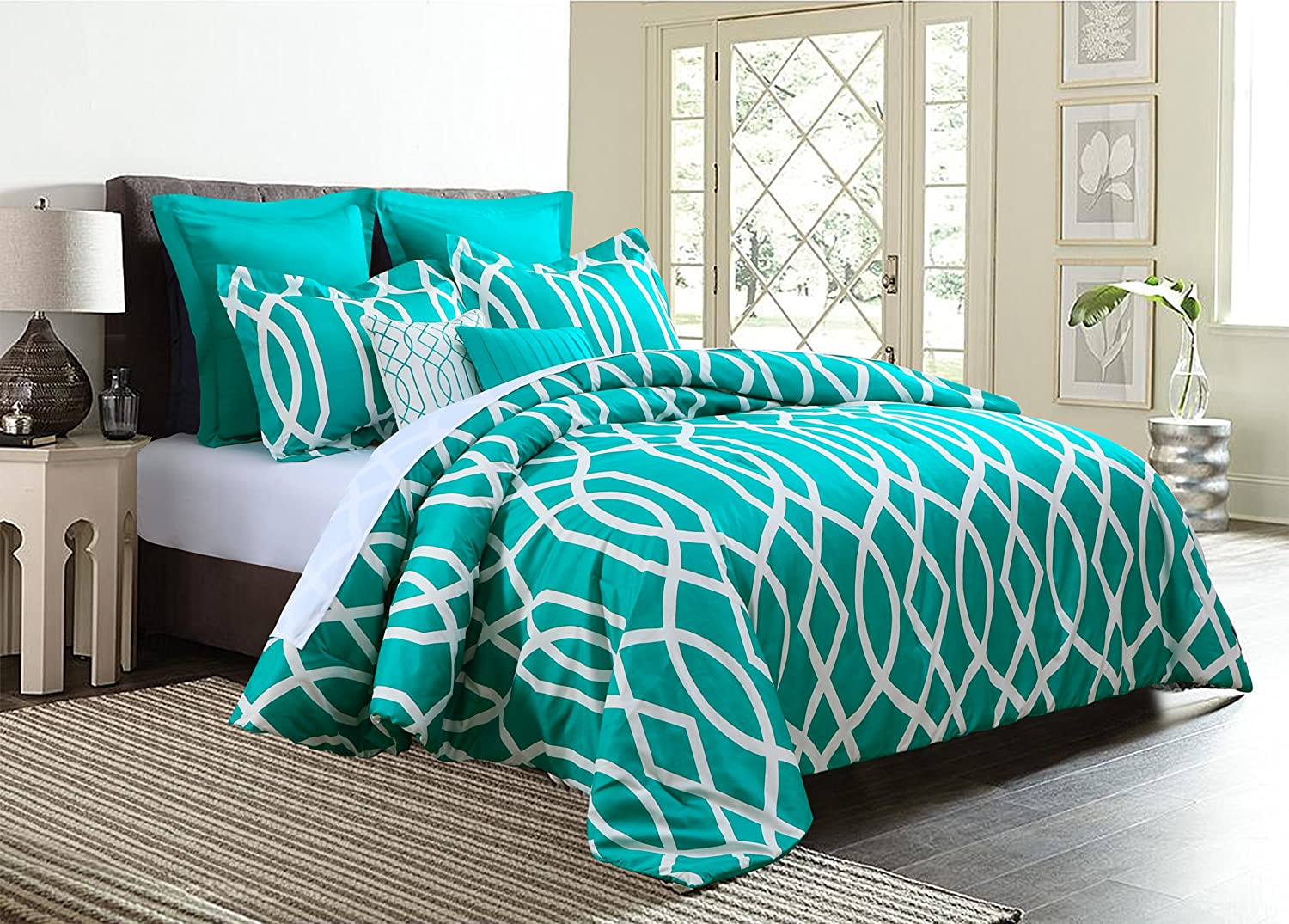 EMPIRE Home Anbu Modern 7 Piece Comforter Set (Full Size, Teal Blue)