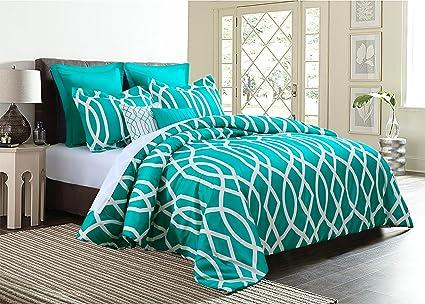 . EMPIRE Home Anbu Modern 7 Piece Comforter Set  King Size  Teal Blue