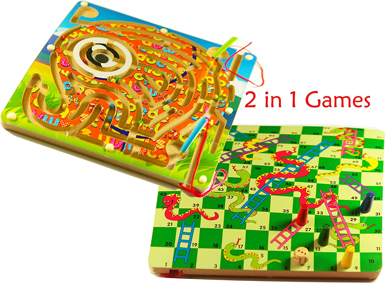 TOWO Juegos de Mesa 2-en-1 de Serpientes y Escaleras y un Laberinto Magnetico de Elefante - Juguete de Madera para niños de 3 años y mas - Juego de Tablero - Juego