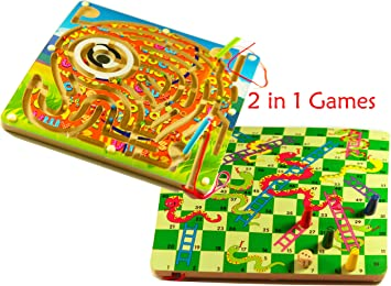 TOWO Juegos de Mesa 2-en-1 de Serpientes y Escaleras y un Laberinto Magnetico de