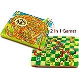 Toys of Wood Oxford serpientes y escaleras de madera y elefante laberinto magnética dos en un juego de mesa - laberinto magico juego para niños