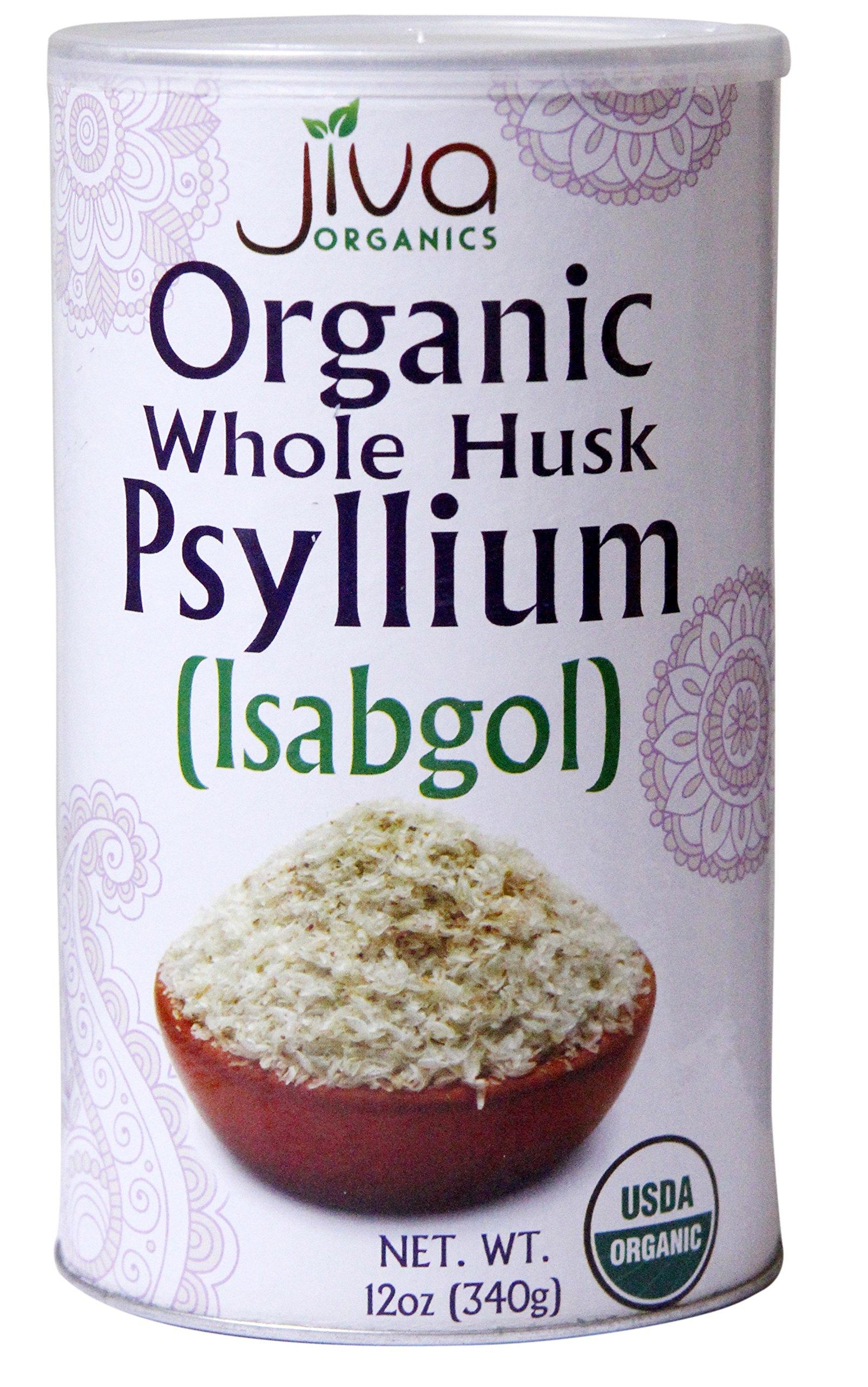 Jiva USDA ORGANIC Whole Husk Psyllium (Isabgol) 12-Ounce Can