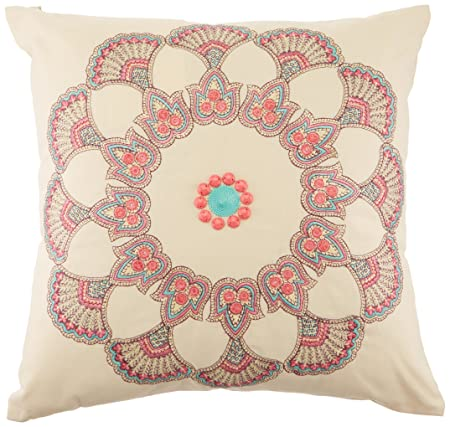 Echo Guinevere Fashion Linen Throw Pillow, Global Inspired Embroidered Pattern Square Decorative Pillow, 16X16, Cream Multi