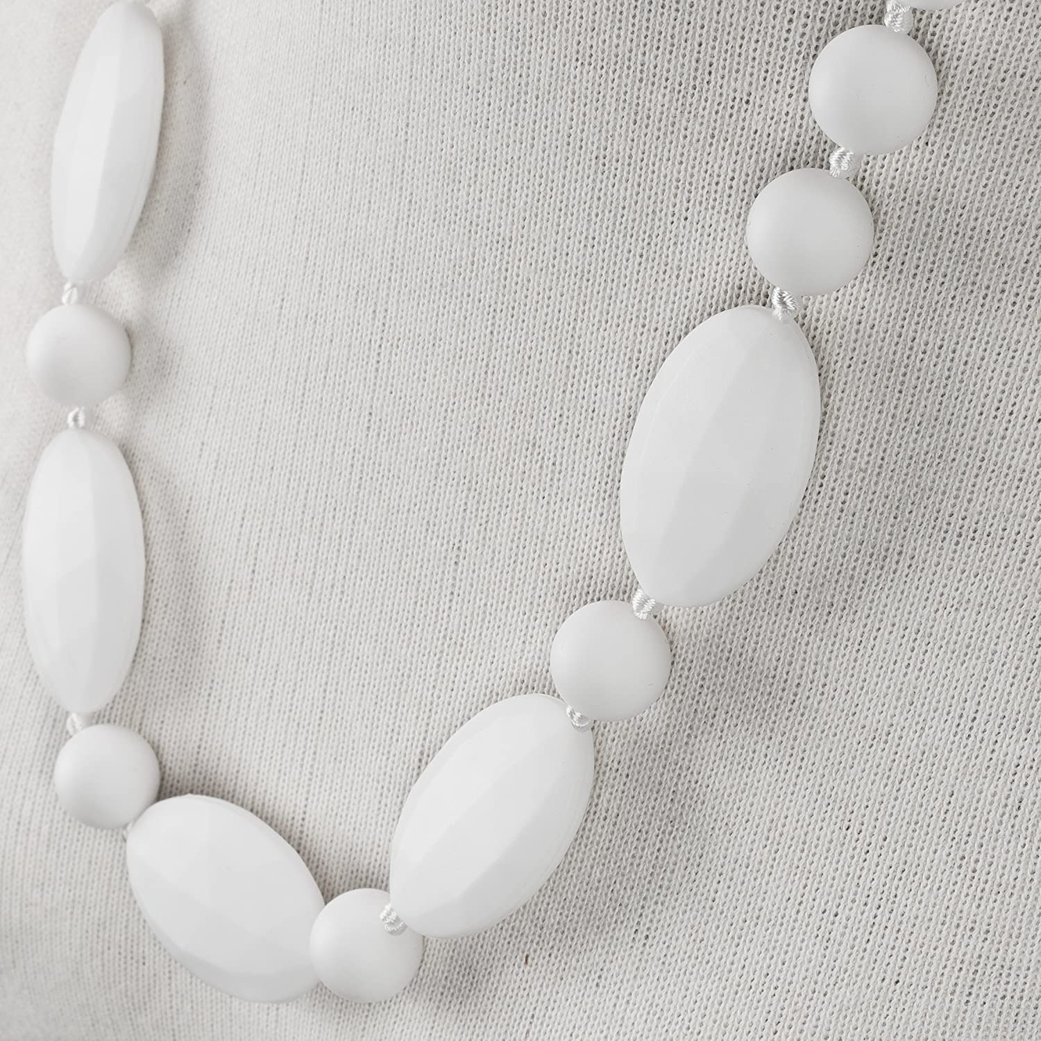 Baby Teething Necklace for Mom by Wear Tough White Pearl