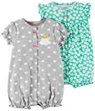 Carter's Baby Girls' 2-Pack Romper, Mint