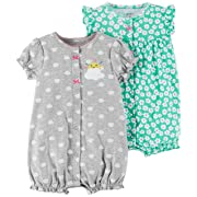 Carter's Baby Girls' 2-Pack Romper, Mint Floral/Grey Rainbow, 9 Months