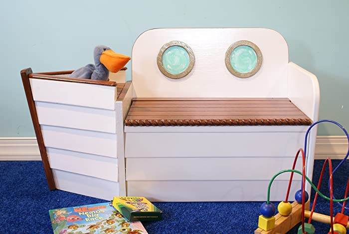 Beau Wooden Boat Toy Chest Toy Box Ship Bench, Toy Organizer, Nautical Deco, Toy