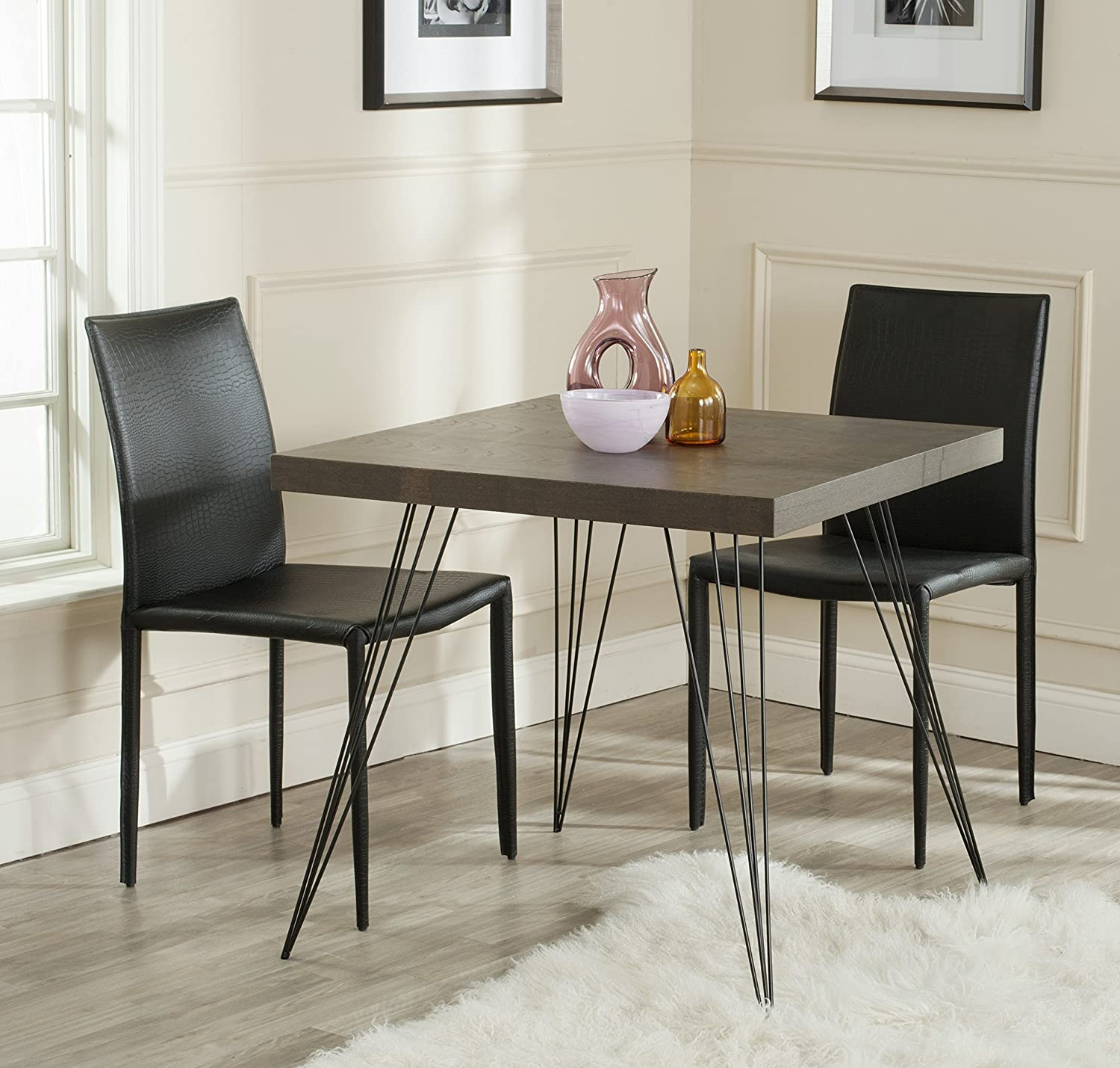 Safavieh Home Collection Wolcott Mid-Century Modern Dark Brown and Black Accent Table