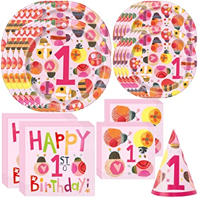 Unique Baby Girl 1st Birthday Ladybug Party Bundle | Beverage and Luncheon Napkins, Dinner & Dessert Plates | Child's 1st Birthday Celebration, Kid's Party: Health & Personal Care