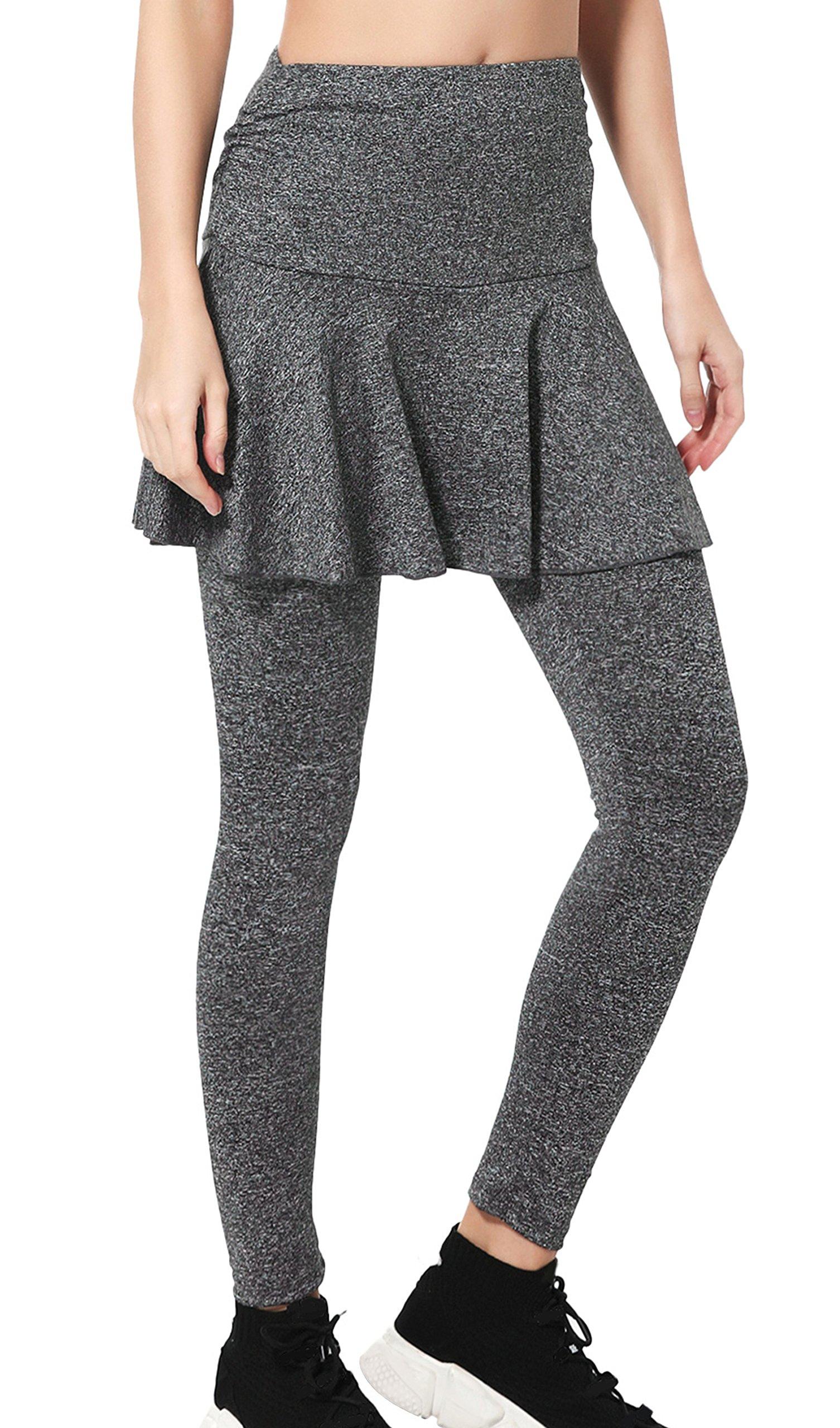 Wantdo Women's Gym Skirted Leggings Tight 4 Way Strech Shaping Hip Push up Yoga Pants Medium Grey by Wantdo
