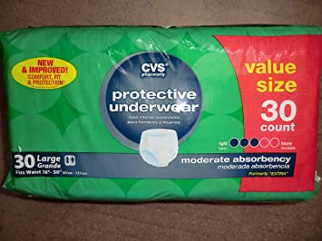 CVS Mens/Womens Underwear Moderate Absorbency Large (38-50 inches) - Compare