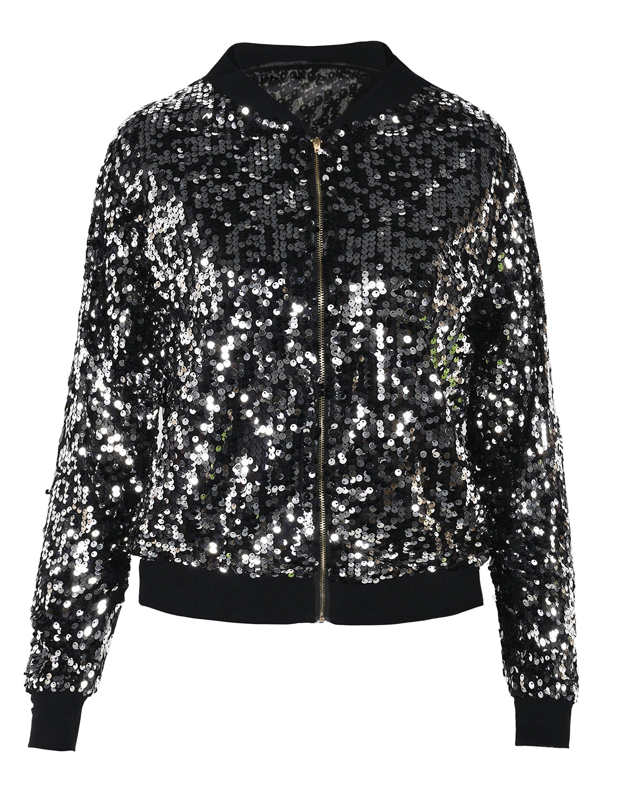 PrettyGuide Women's Sequin Top Lightweight Cardigan Bomber Jacket Outwear L/8-10 Black Silver