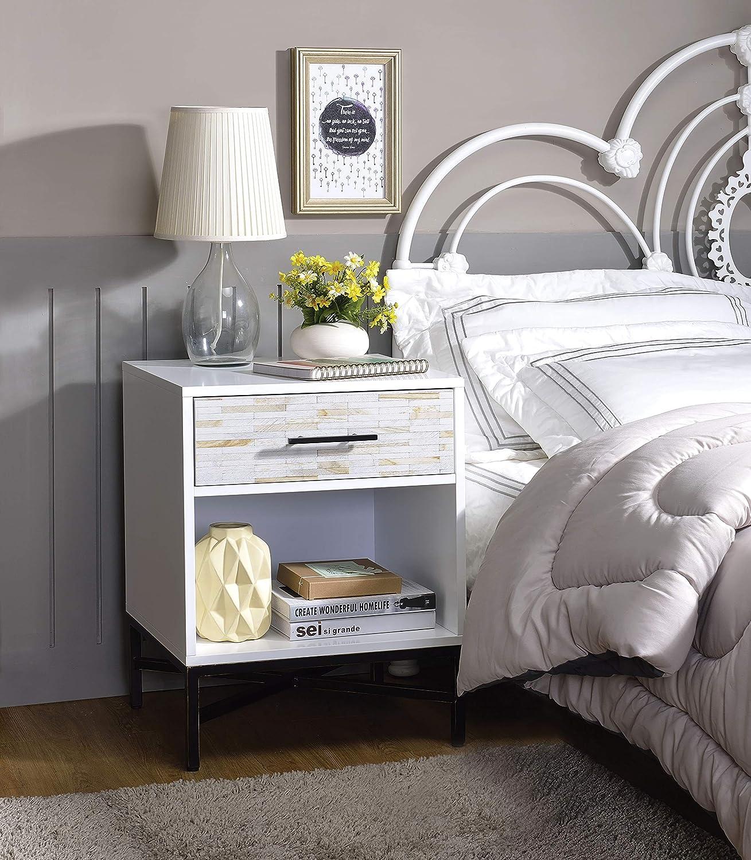 Benzara BM184800 Nightstand Drawer and One Open Shelf Multicolour