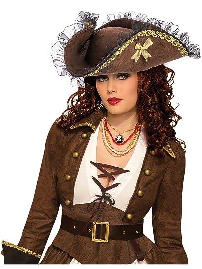 Forum Novelties Womens Brown Tricorner Tricorn Pirate Hat Costume Accessory ca188580d4d