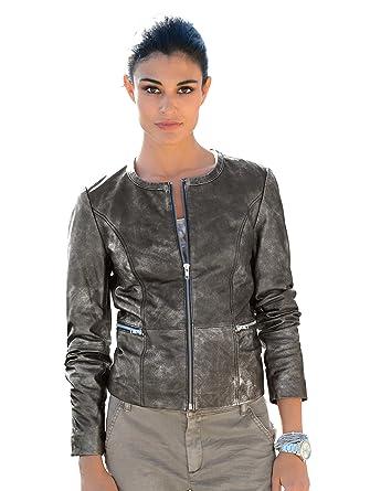 Alba Moda Damen Ziegenvelourslederjacke, silber  Amazon.de  Bekleidung fd7b443aaa