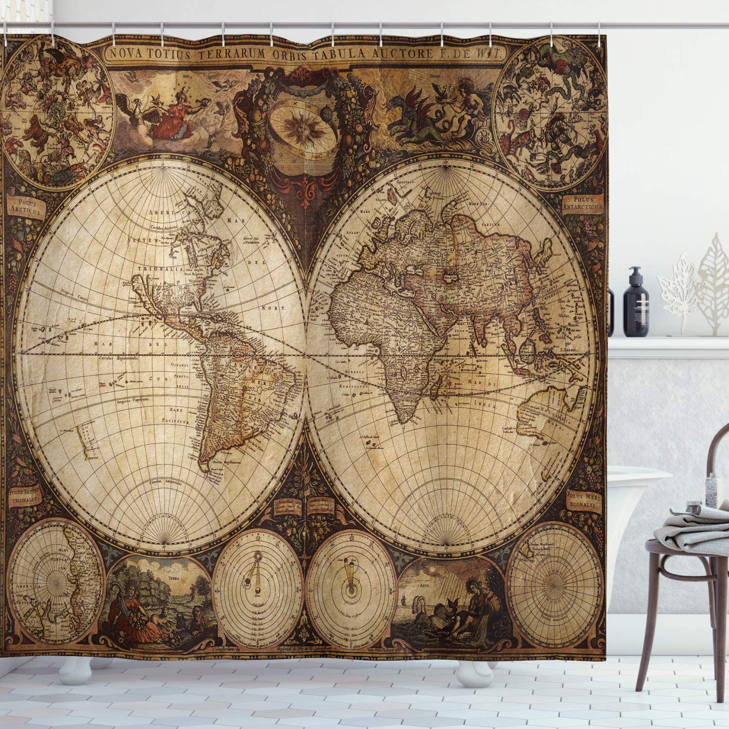 """Ambesonne World Map Shower Curtain, Old World Map Drawn in 1720s Nostalgic Style Art Historical Atlas Vintage Design, Cloth Fabric Bathroom Decor Set with Hooks, 70"""" Long, Multicolor"""