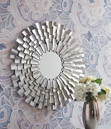 Signature Design by Ashley – Zelenak Accent Mirror – Metal Frame – Silver Finish