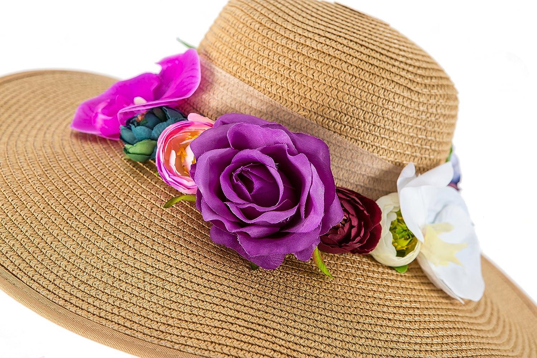 338e093caee64 Custom Personalized Sun Floppy Straw Beach hat pom Hand-Painted Mrs. Wedding  Honeymoon Bachelorette Derby Party at Amazon Women s Clothing store