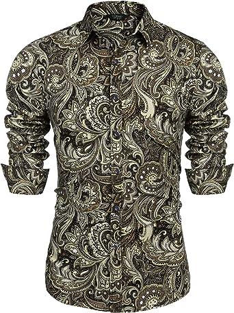 Coofandy Men S Paisley Cotton Long Sleeve Shirt Floral Print Casual Retro Button Down Shirt At Amazon Men S Clothing Store