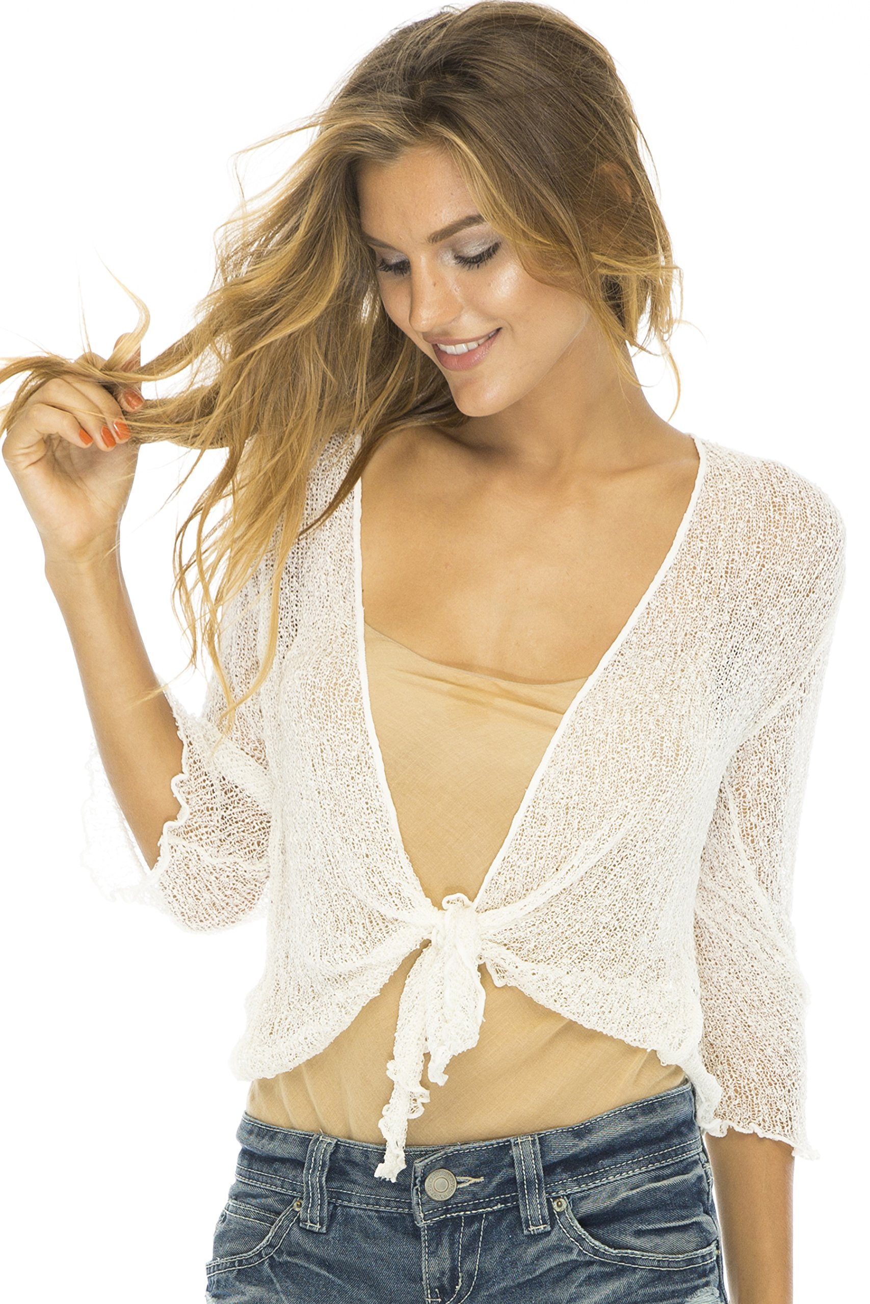 Back From Bali Womens Lightweight Knit Cardigan Shrug Lite Sheer Cream/Off White