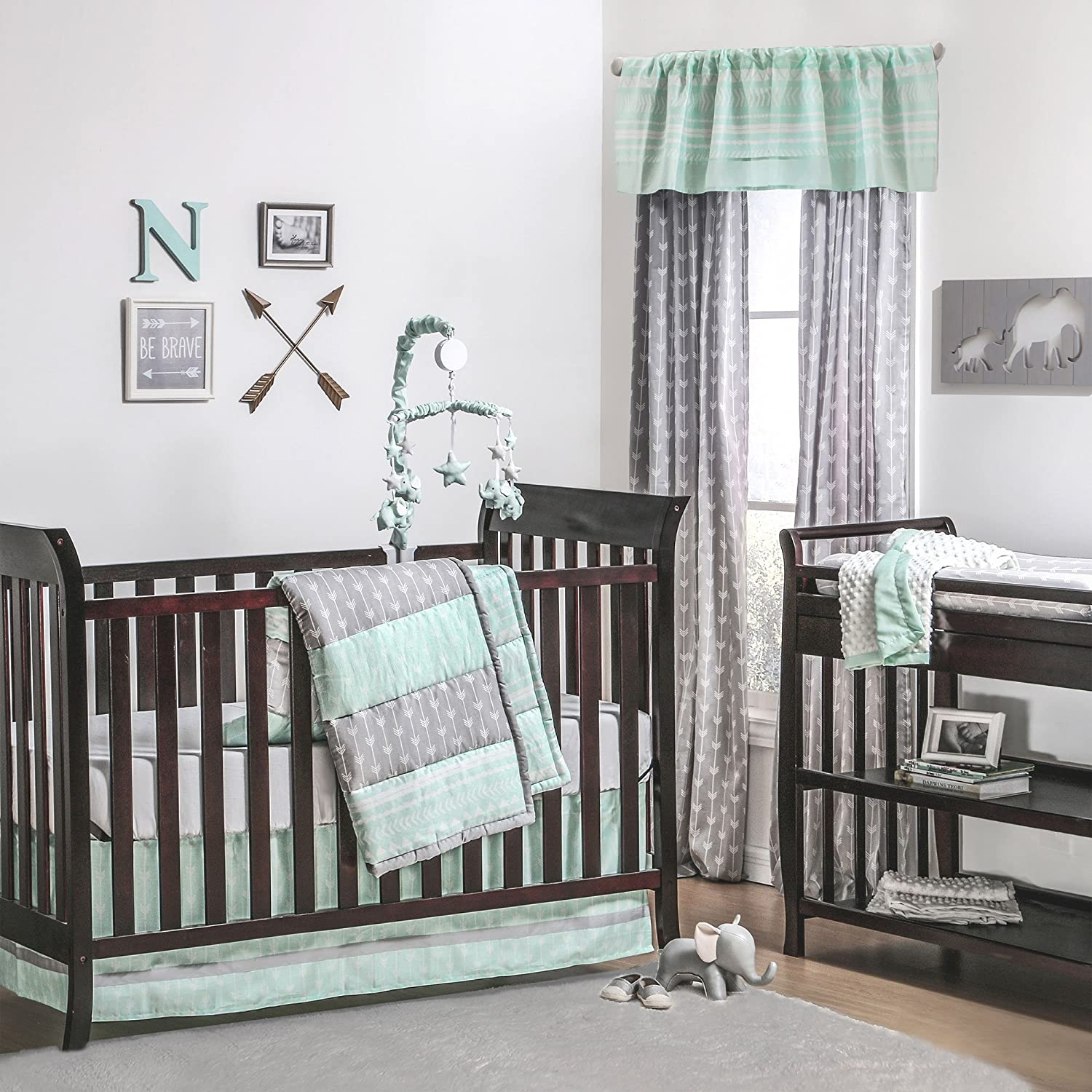 Mint Green and Grey Arrow Stripe 4 Piece Baby Crib Bedding Set by The Peanut Shell BS4ARMI