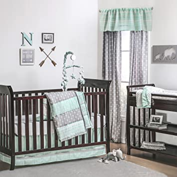 amazon com mint green and grey arrow stripe 4 piece baby crib