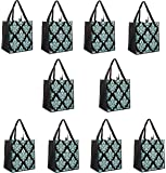 ReBagMe (TM) Set of 10 Large Reusable Grocery Bag Totes - Extra Reinforced Handles Sewn to the Bottom - Loop for Grocery Stores - Includes Insert on Bottom of Bag for Extra Support (10, Turquoise)