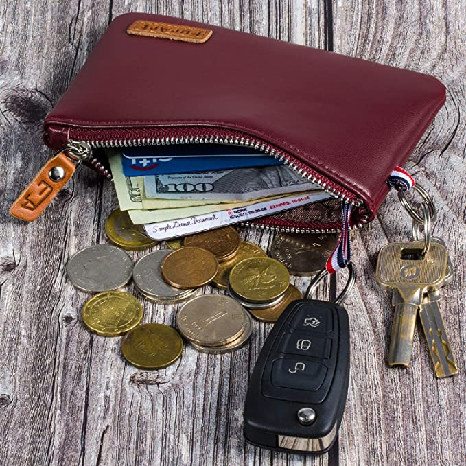 FurArt Genuine Leather Coin Purse, Dual Rings Change Purse with Zipper, Soft Coin Pouch, Inner Pocket, Mini Size