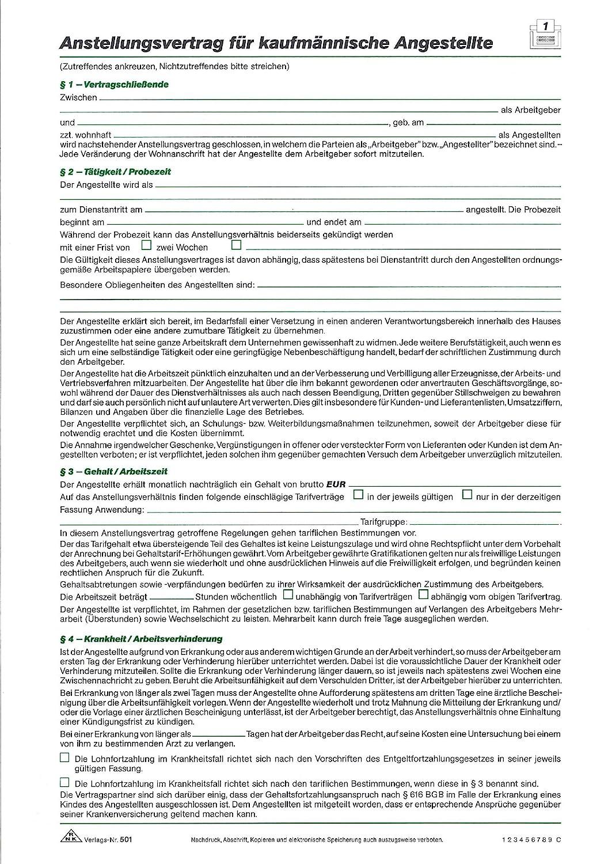 Rnk 50110 Anstellungsvertrag Für Kaufmännische Angestellte A4 10er