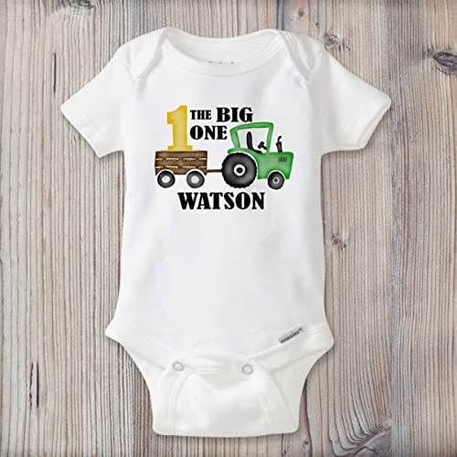 3359d7e8 Amazon.com: Baby Boy Onesie ®, First Birthday Outfit, PERSONALIZED Baby  Name Bodysuit, Farmer Baby Clothes, Baby Shower Gift: Handmade